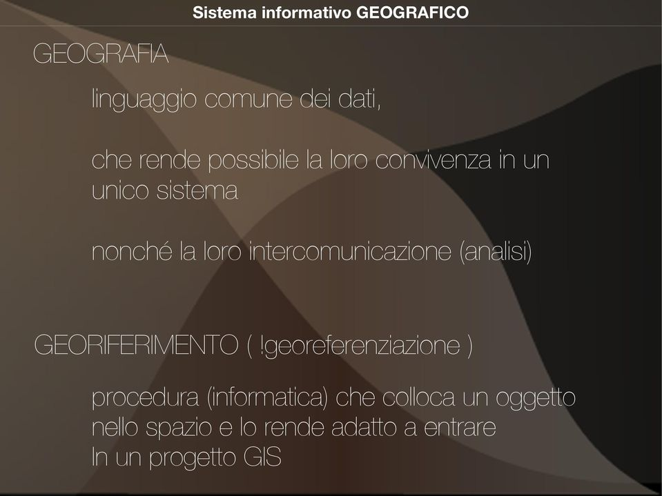 intercomunicazione (analisi) GEORIFERIMENTO (!
