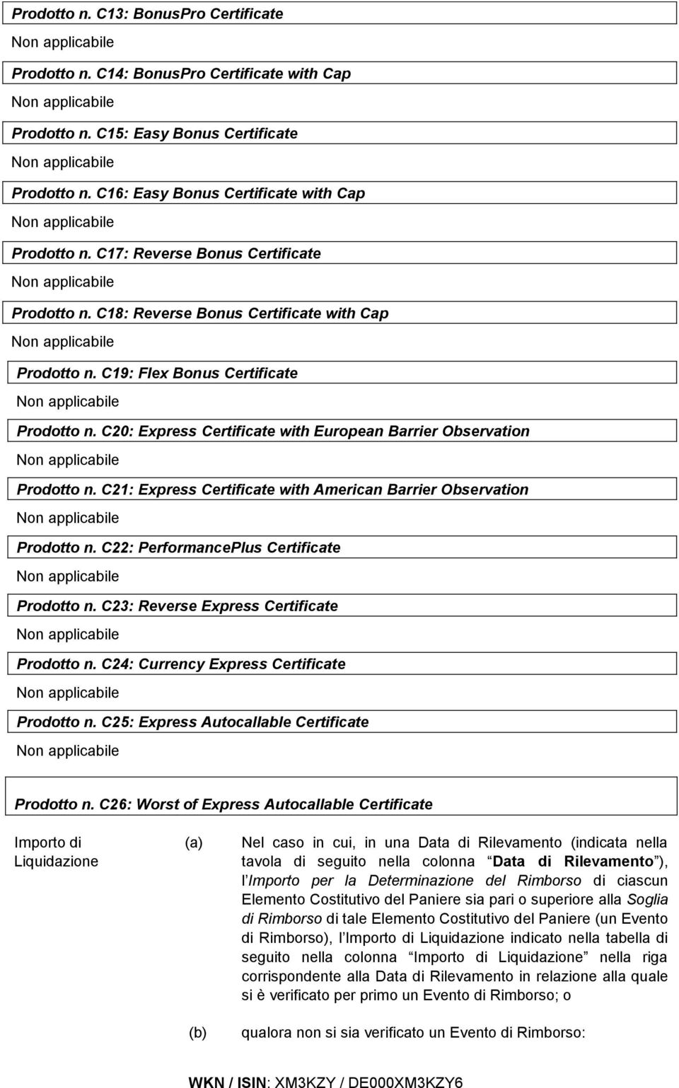 C20: Express Certificate with European Barrier Observation Prodotto n. C21: Express Certificate with American Barrier Observation Prodotto n. C22: PerformancePlus Certificate Prodotto n.