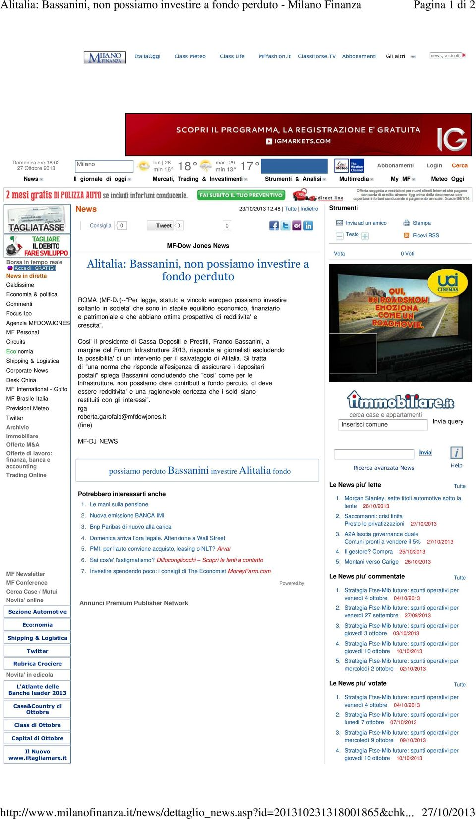 Analisi Multimedia My MF Meteo Oggi News 23/10/2013 12.