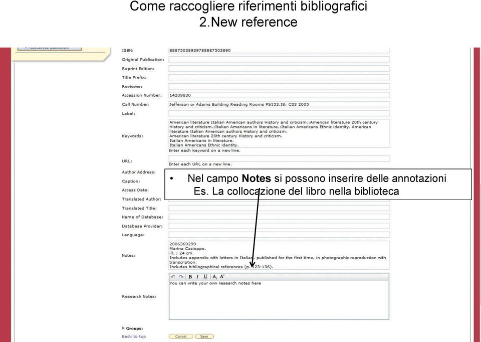 New reference Nel campo Notes si
