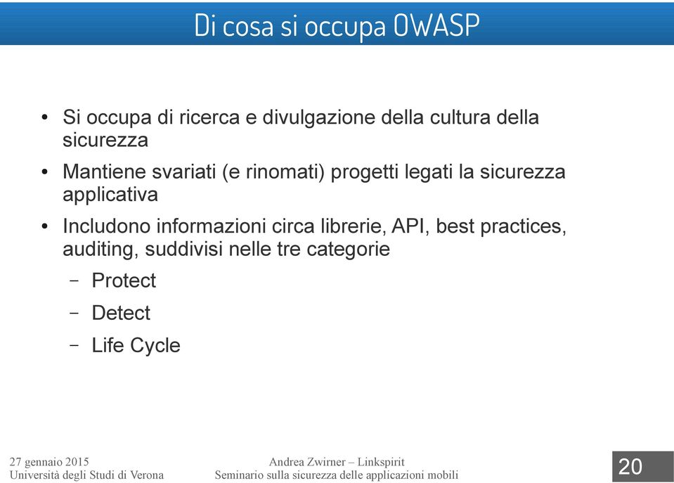 Includono informazioni circa librerie, API, best practices, auditing, suddivisi nelle