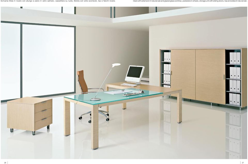 Desk with extension in natural oak and glazed glass worktop, pedestal on