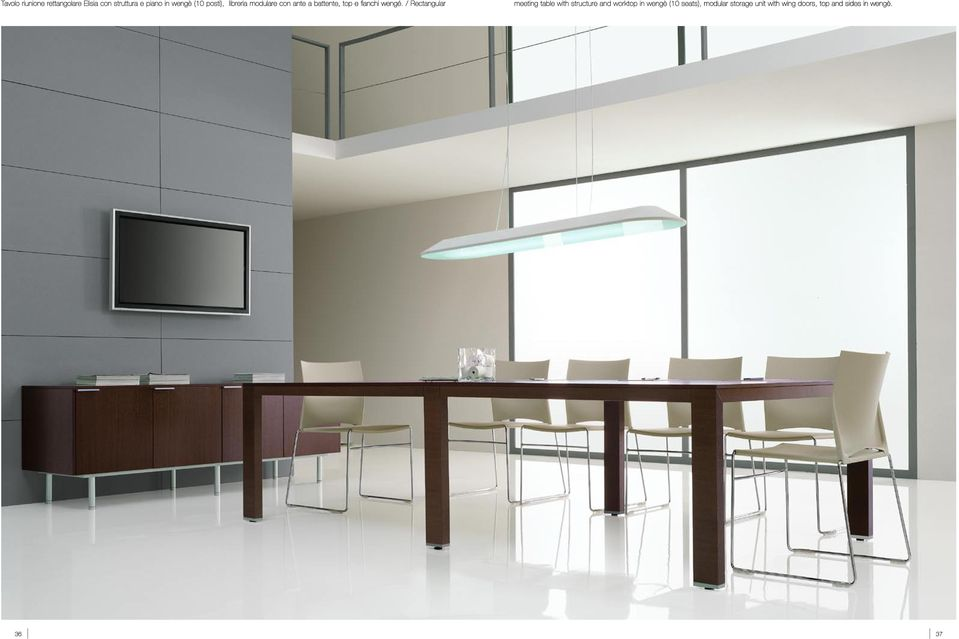 / Rectangular meeting table with structure and worktop in wengè (10