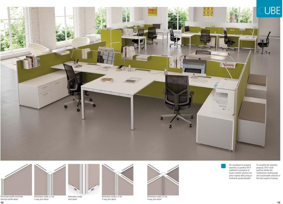 To complete the operative proposal, SPLIT small partition divides the workstations creating easy and customizable solutions in the total