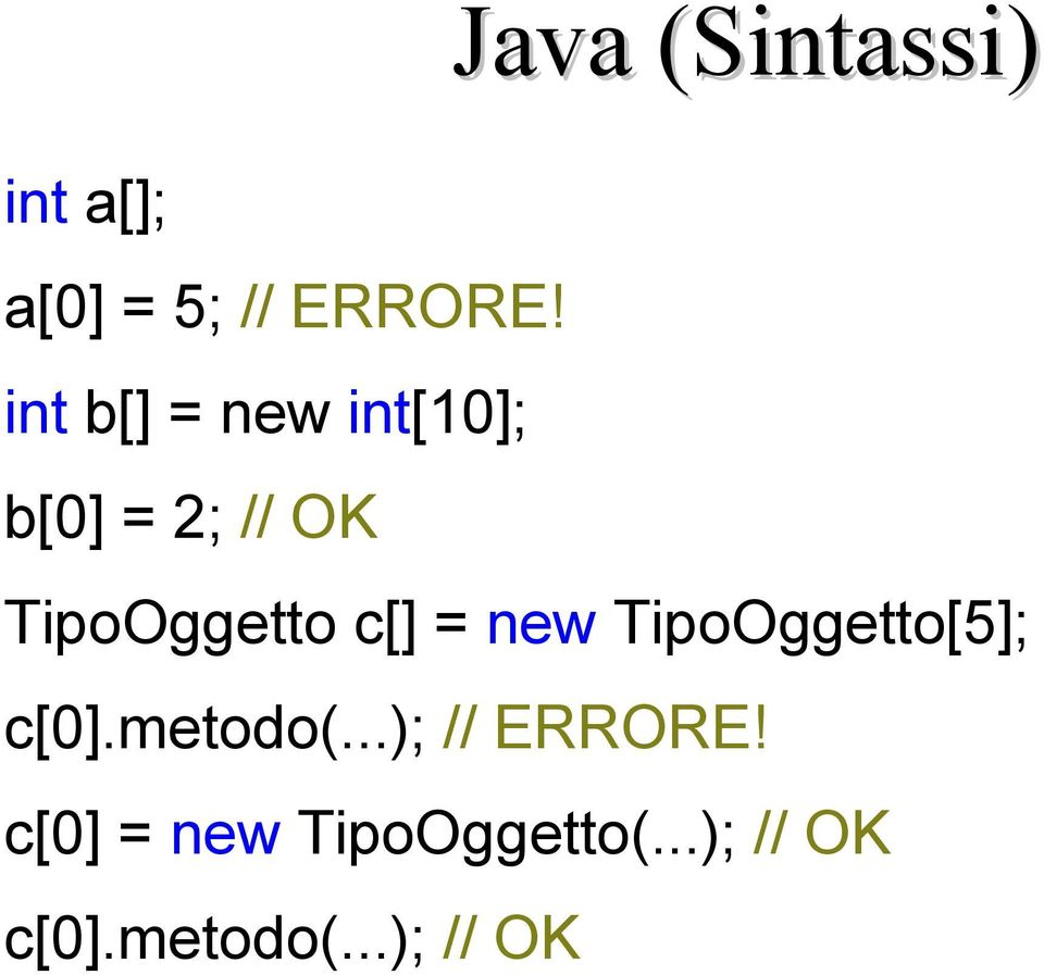 c[] = new TipoOggetto[5]; c[0].metodo(...); // ERRORE!
