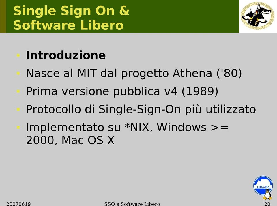 Protocollo di Single-Sign-On più utilizzato