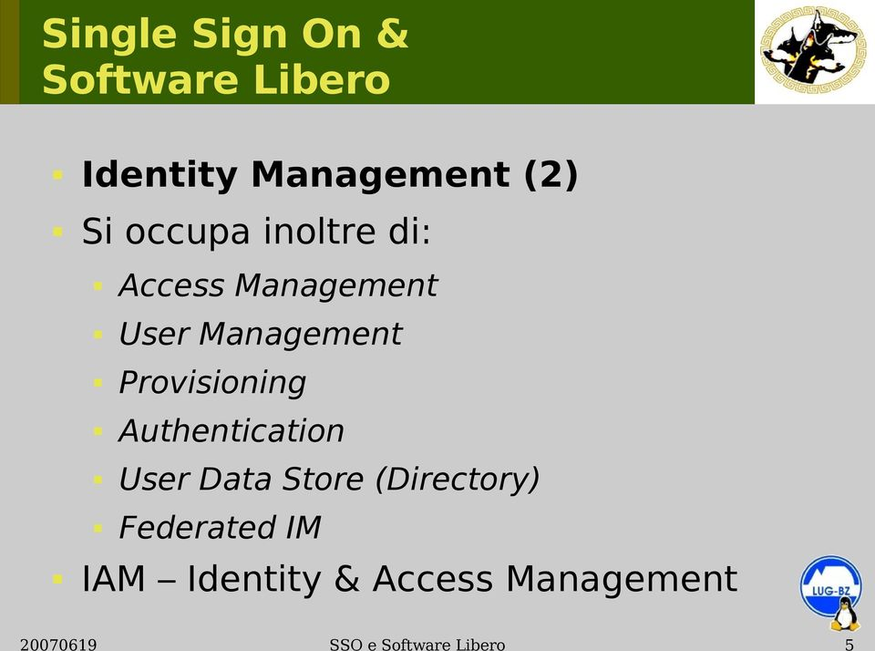 Authentication User Data Store (Directory)