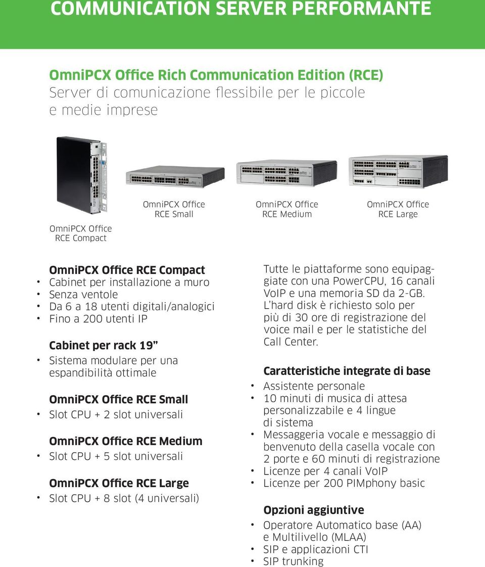 19 Sistema modulare per una espandibilità ottimale OmniPCX Office RCE Small Slot CPU + 2 slot universali OmniPCX Office RCE Medium Slot CPU + 5 slot universali OmniPCX Office RCE Large Slot CPU + 8