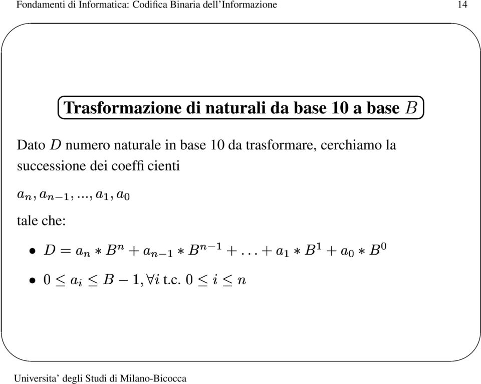a base Dato numero naturale in base 10 da