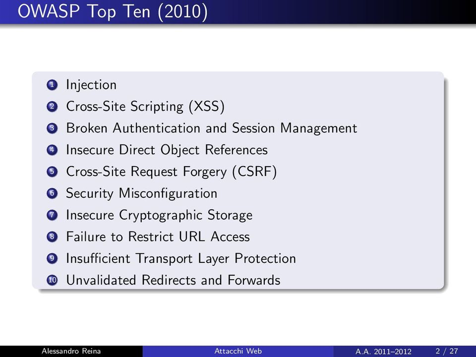 Misconfiguration 7 Insecure Cryptographic Storage 8 Failure to Restrict URL Access 9 Insufficient