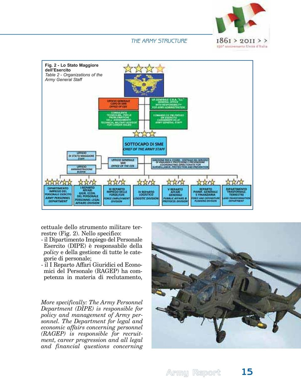 Giuridici ed Economici del Personale (RAGEP) ha competenza in materia di reclutamento, More specifically: The Army Personnel Department (DIPE) is responsible for policy and