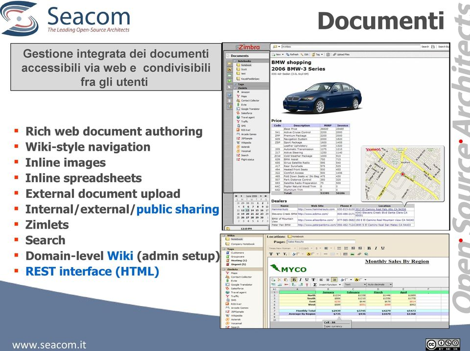 navigation Inline images Inline spreadsheets External document upload