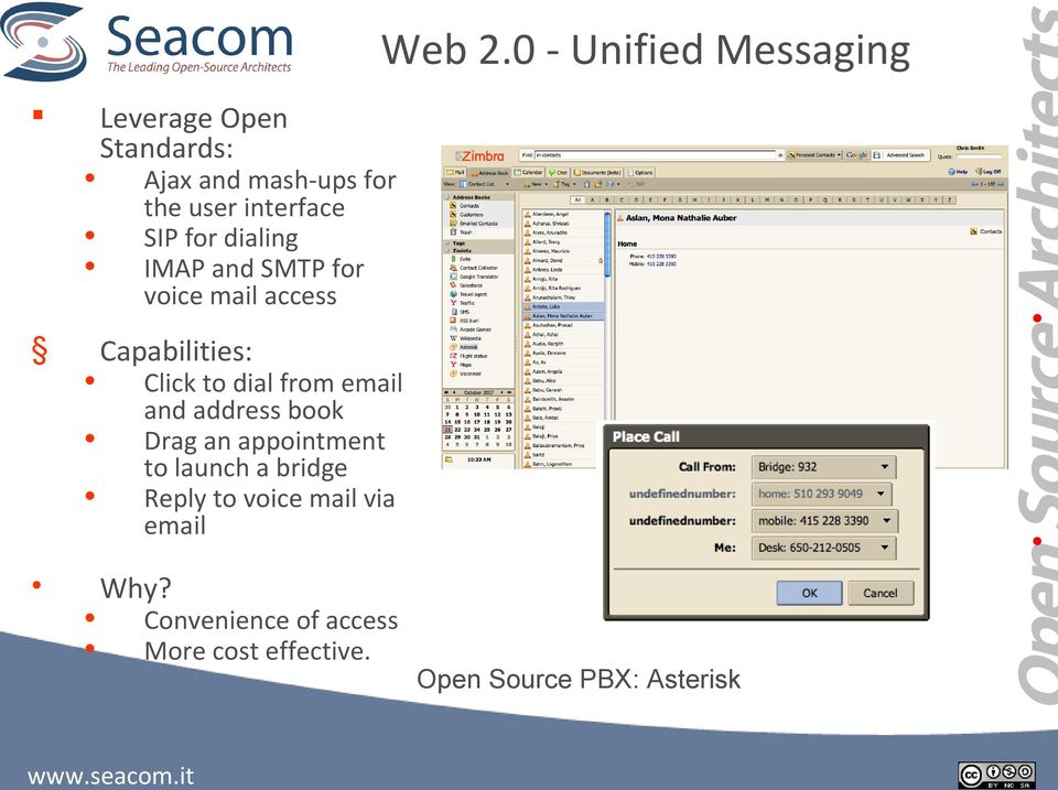 interface SIP for dialing IMAP and SMTP for voice mail access Capabilities: Click to
