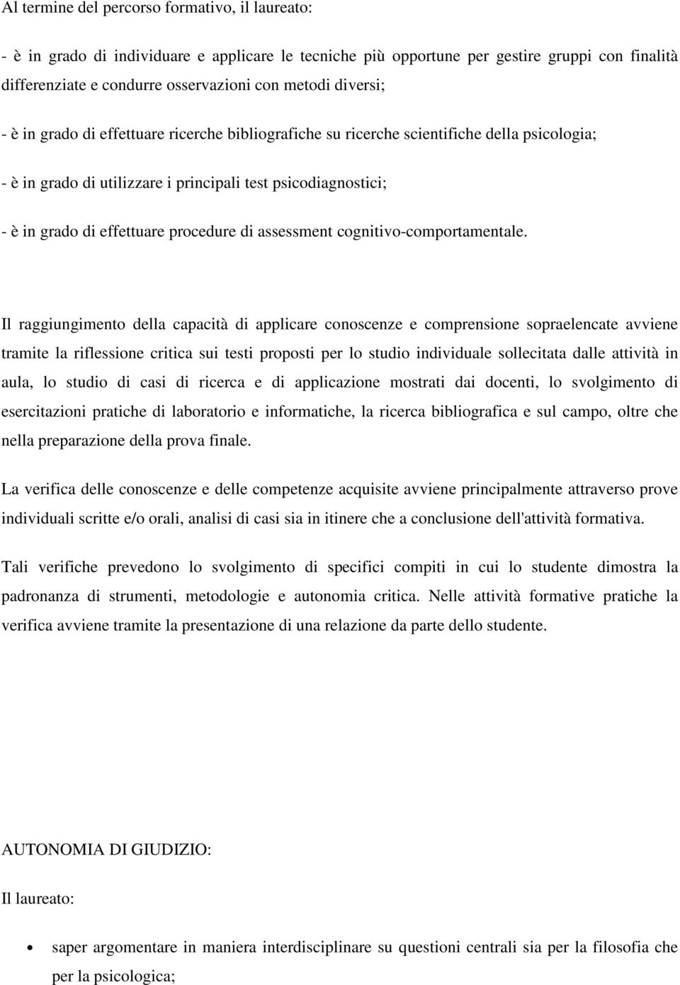 procedure di assessment cognitivo-comportamentale.