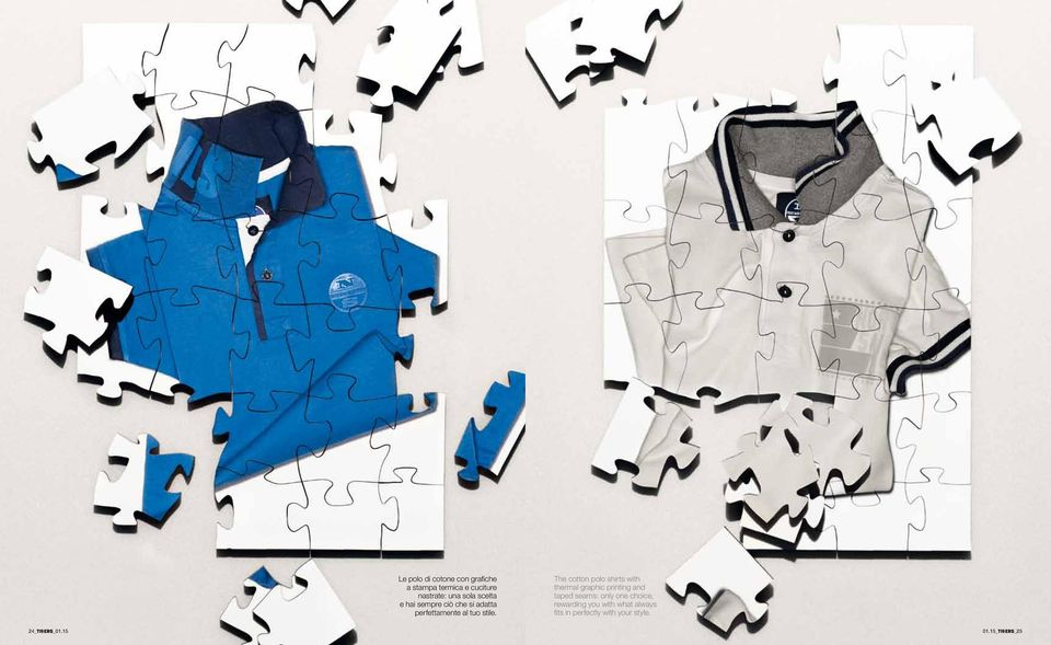 The cotton polo shirts with thermal graphic printing and taped seams: only one