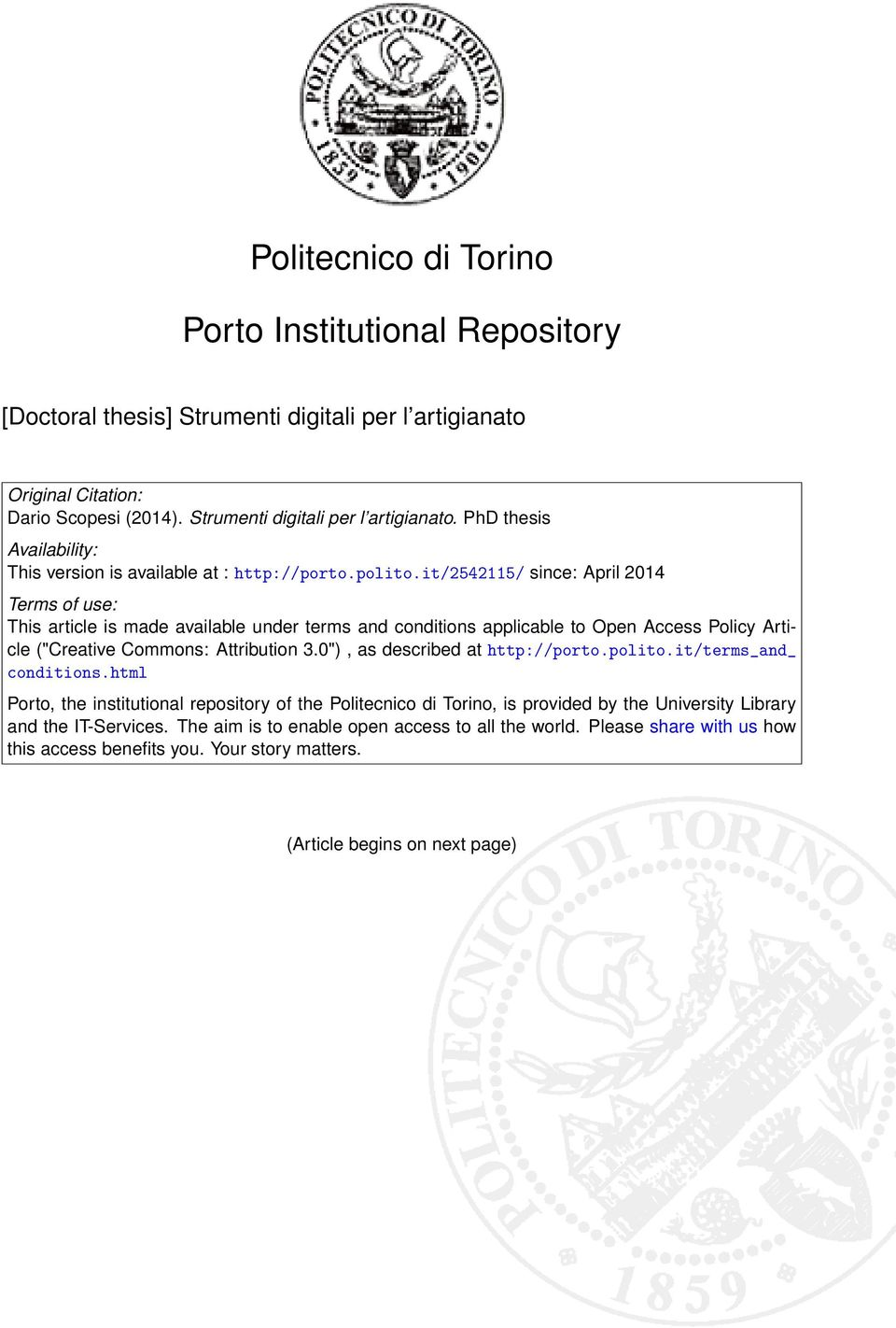 "0""), as described at http://porto.polito.it/terms_and_ conditions.html Porto, the institutional repository of the Politecnico di Torino, is provided by the University Library and the IT-Services."