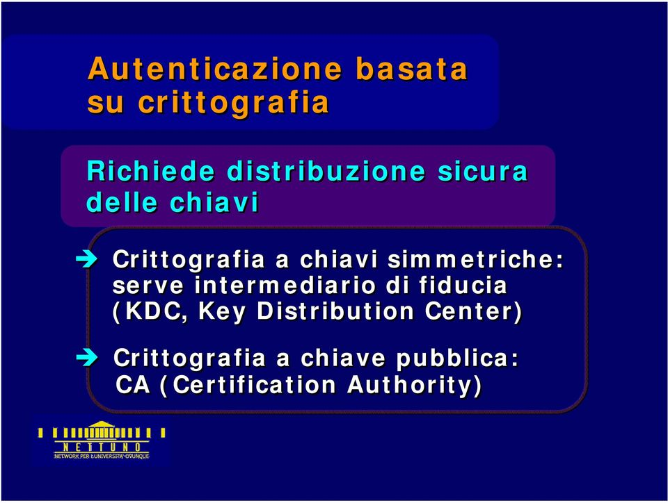 simmetriche: serve intermediario di fiducia (KDC, Key