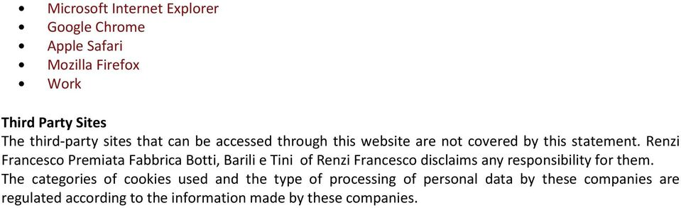 Renzi Francesco Premiata Fabbrica Botti, Barili e Tini of Renzi Francesco disclaims any responsibility for them.