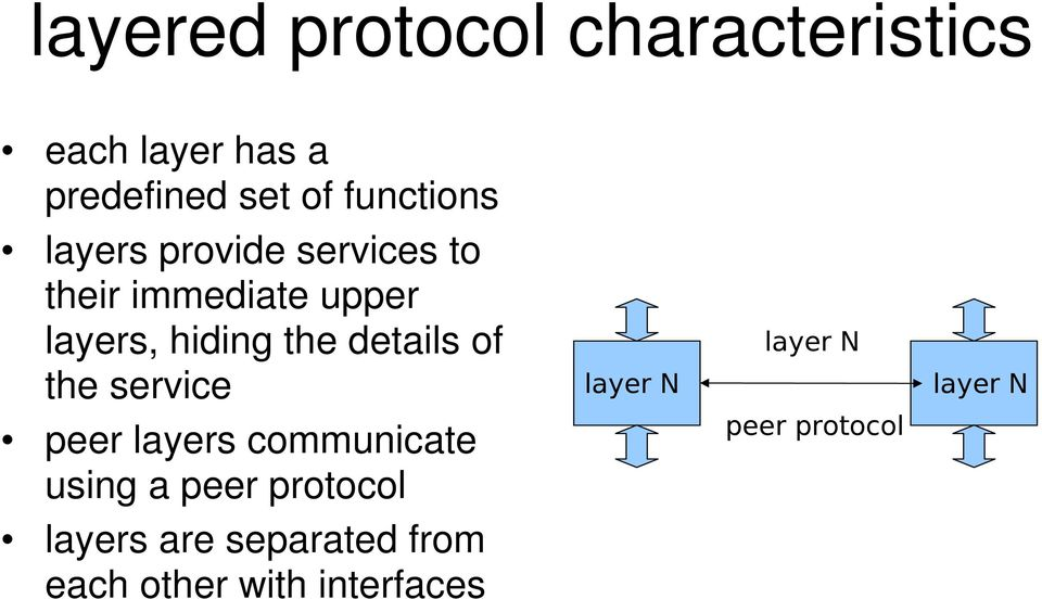 the details of the service peer layers communicate using a peer protocol