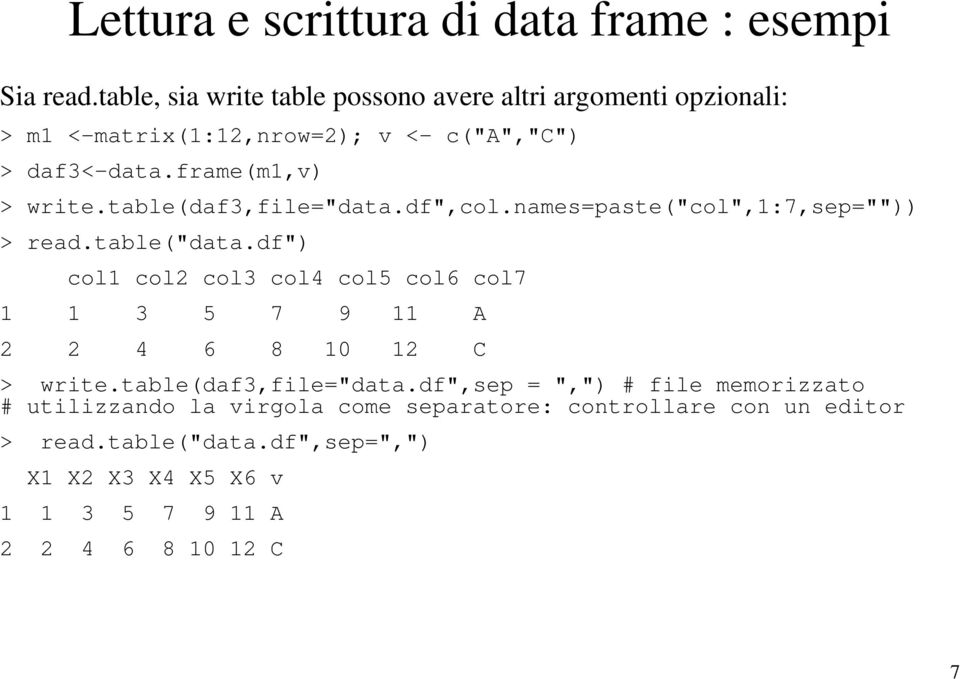 "table(daf3,file=""data.df"",col.names=paste(""col"",1:7,sep="""")) > read.table(""data."