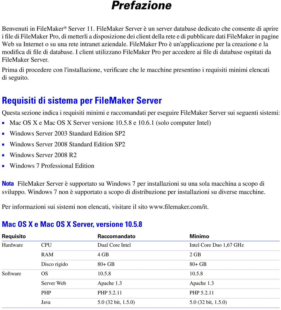 Internet o su una rete intranet aziendale. FileMaker Pro è un'applicazione per la creazione e la modifica di file di database.