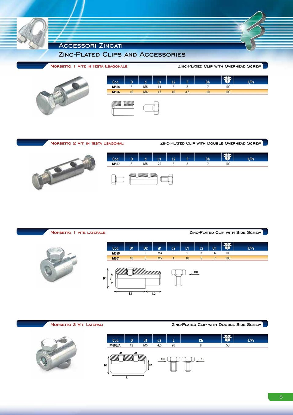 Double Overhead Screw D d L L F Ch M97 M 7 00 Morsetto vite laterale ZincPlated Clip with Side Screw D D d d