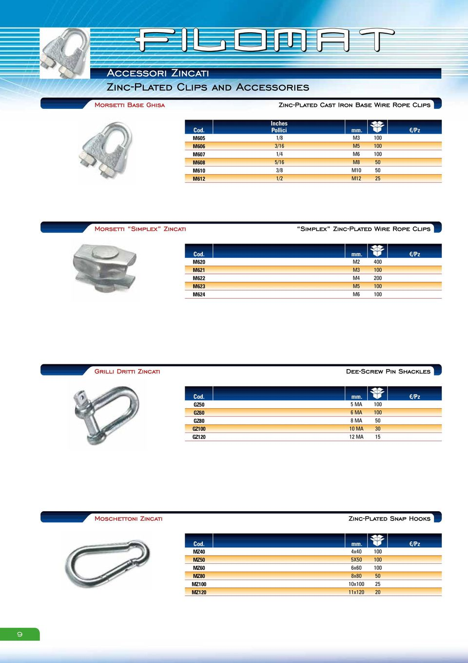 M M M M M0 M 00 00 00 Morsetti Simplex Zincati Simplex ZincPlated Wire Rope Clips mm.