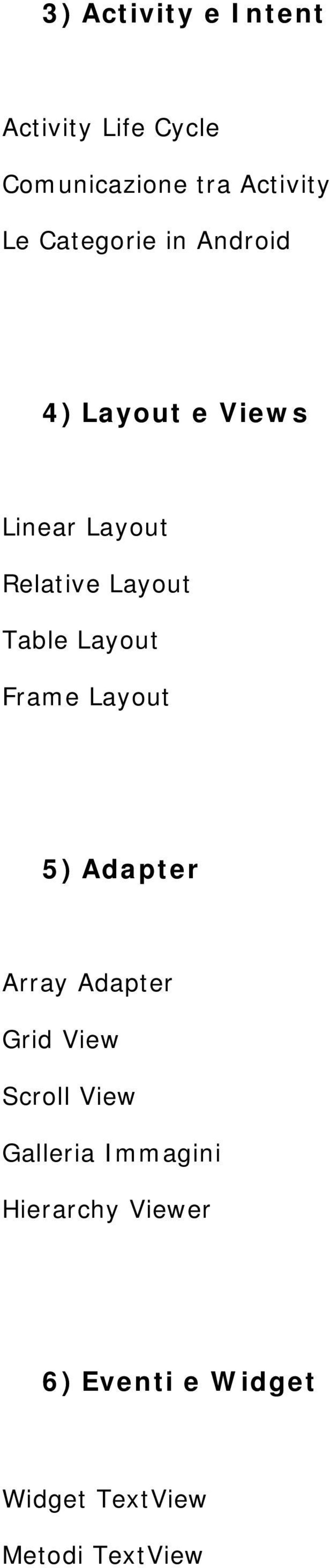 Layout Frame Layout 5) Adapter Array Adapter Grid View Scroll View