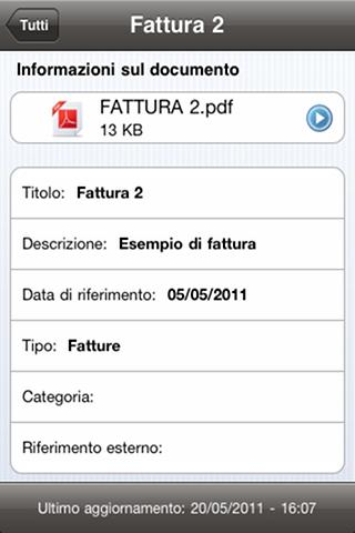 Struttura dell APP Finestra Document Detail ios Android Mostra tutte le