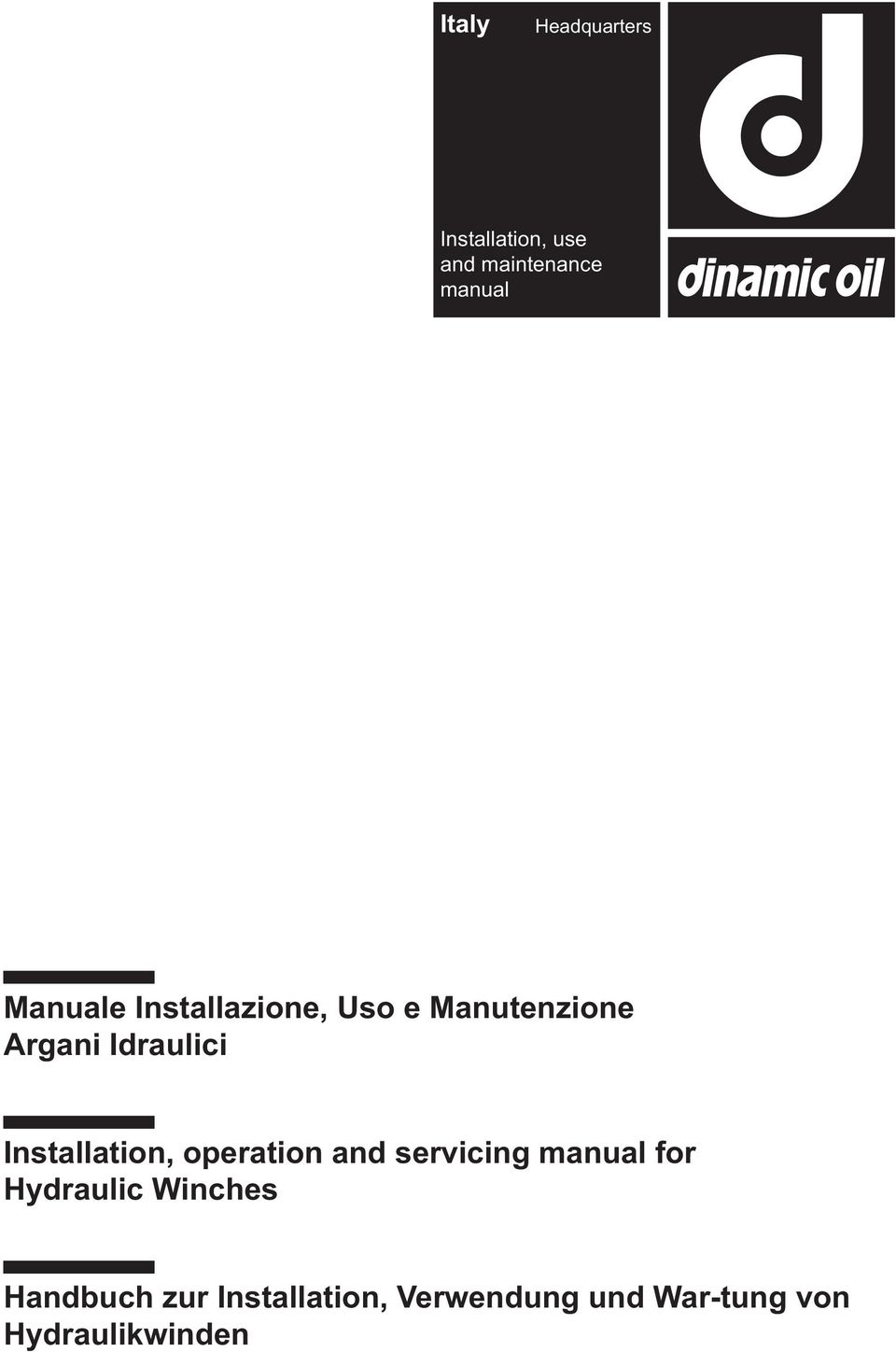 Installation, operation and servicing manual for Hydraulic