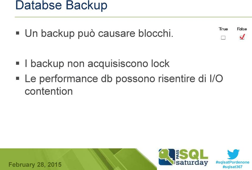 I backup non acquisiscono lock