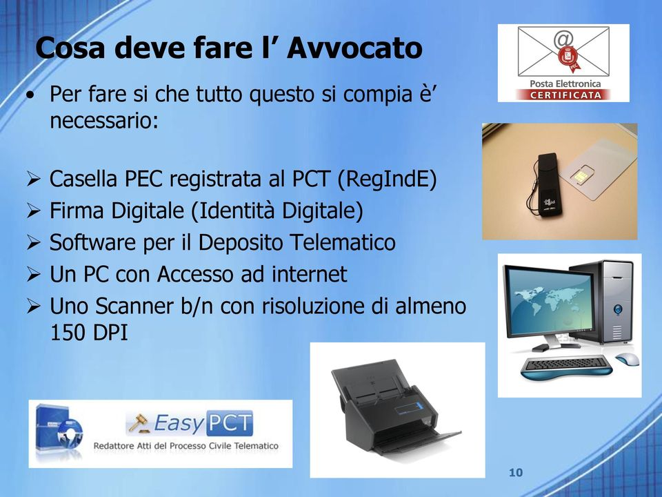 (Identità Digitale) Software per il Deposito Telematico Un PC con