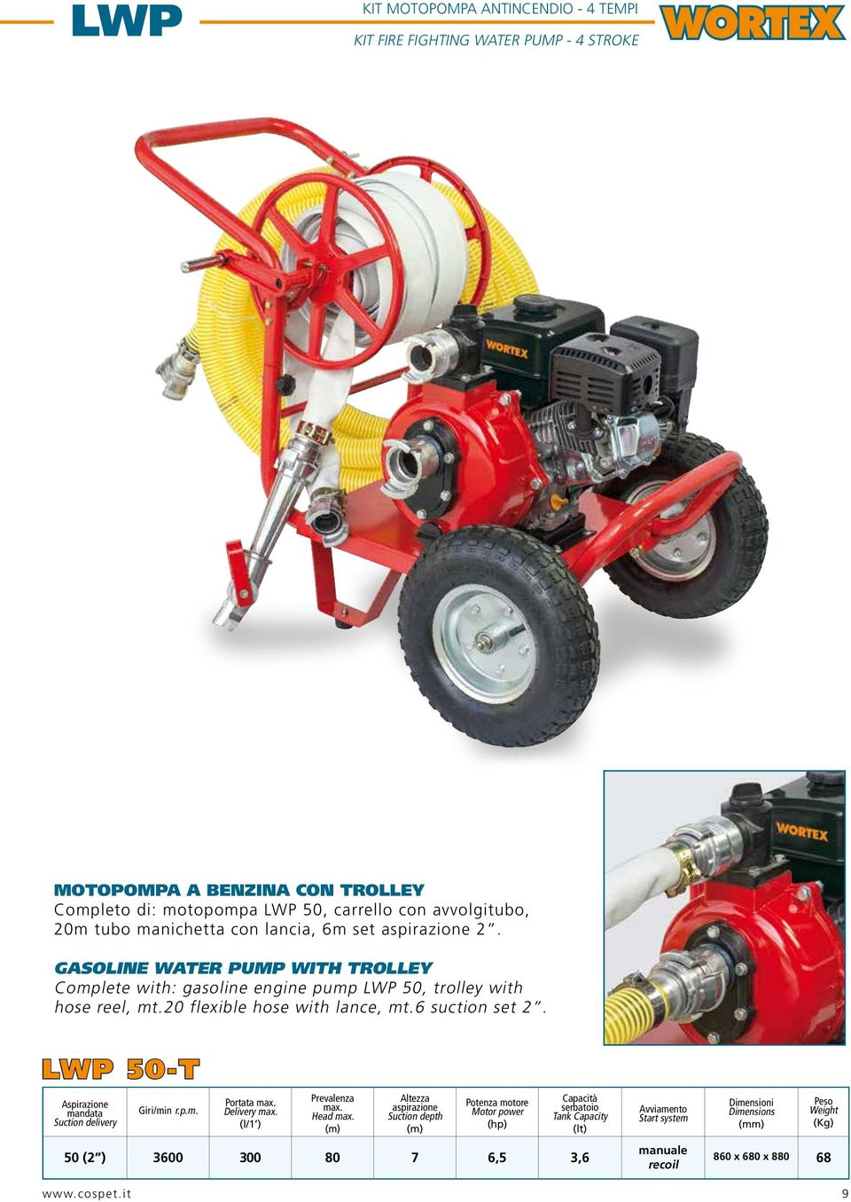 GASOLINE WATER PUMP WITH TROLLEY Complete with: gasoline engine pump LWP 50, trolley with hose reel, mt.20 flexible hose with lance, mt.6 suction set 2.