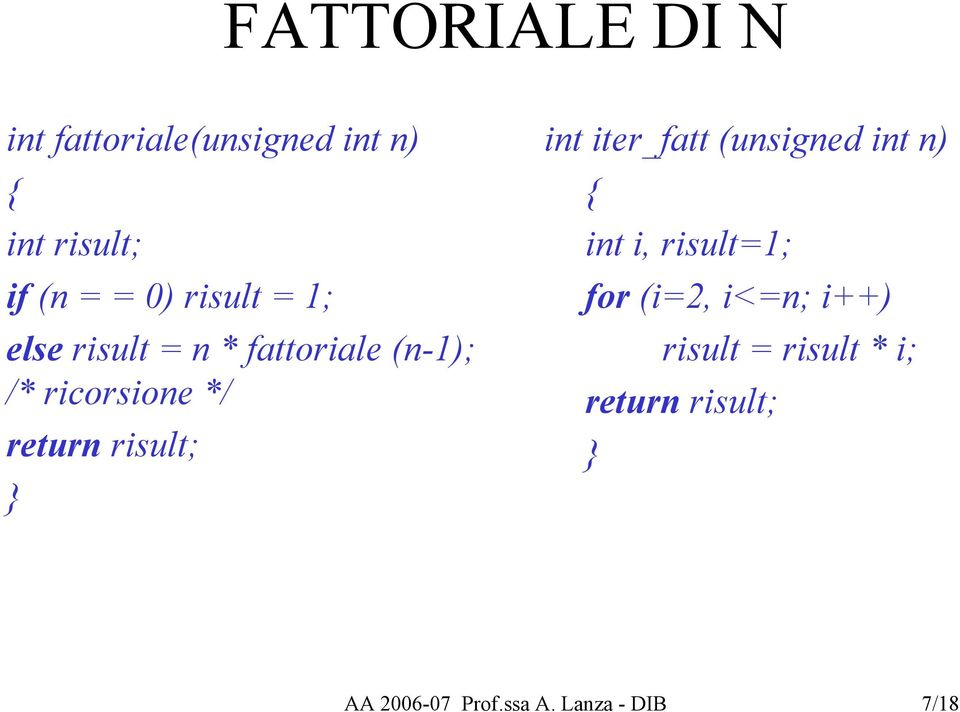 risult; } int iter_fatt (unsigned int n) { int i, risult=1; for (i=2, i<=n;