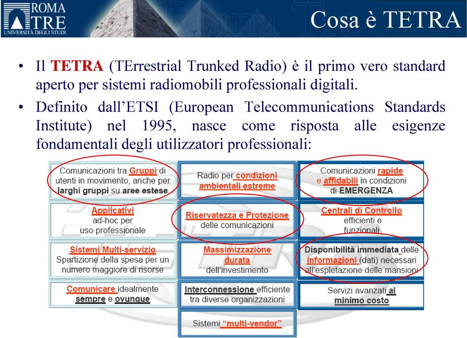 Definito dall ETSI (European Telecommunications Standards Institute) nel