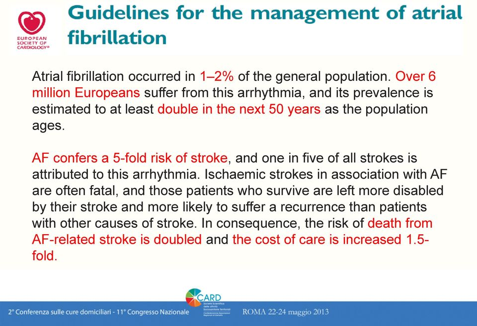 AF confers a 5-fold risk of stroke, and one in five of all strokes is attributed to this arrhythmia.