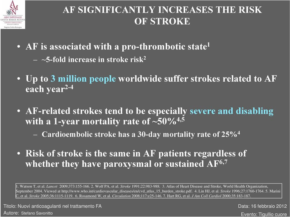 patients regardless of whether they have paroxysmal or sustained AF 6,7 1. Watson T, et al. Lancet 2009;373:155-166. 2. Wolf PA, et al. Stroke 1991;22:983-988. 3.