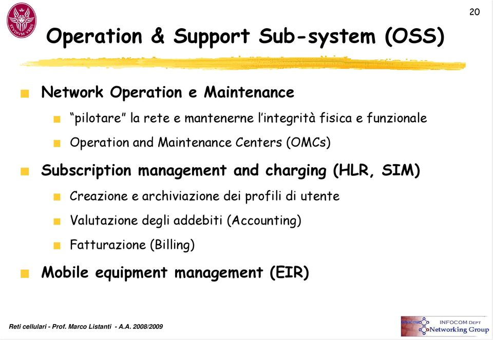 Subscription management and charging (HLR, SIM) Creazione e archiviazione dei profili di