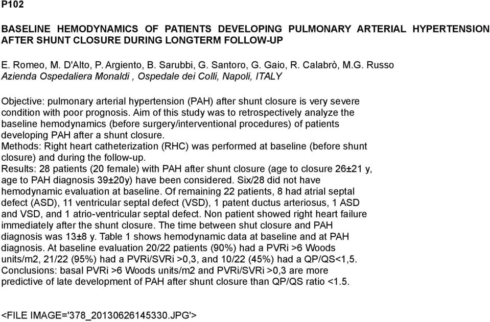 Aim of this study was to retrospectively analyze the baseline hemodynamics (before surgery/interventional procedures) of patients developing PAH after a shunt closure.