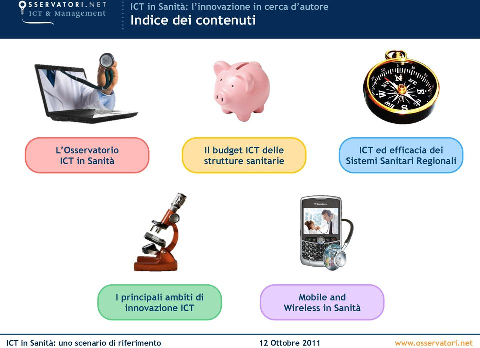 Sanitari Regionali I principali ambiti di innovazione ICT Mobile and Wireless in