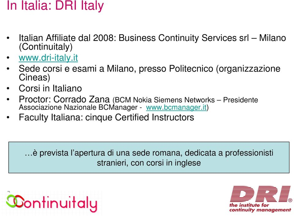 (BCM Nokia Siemens Networks Presidente Associazione Nazionale BCManager - www.bcmanager.