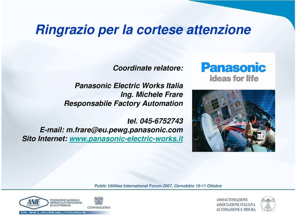 Michele Frare Responsabile Factory Automation tel.
