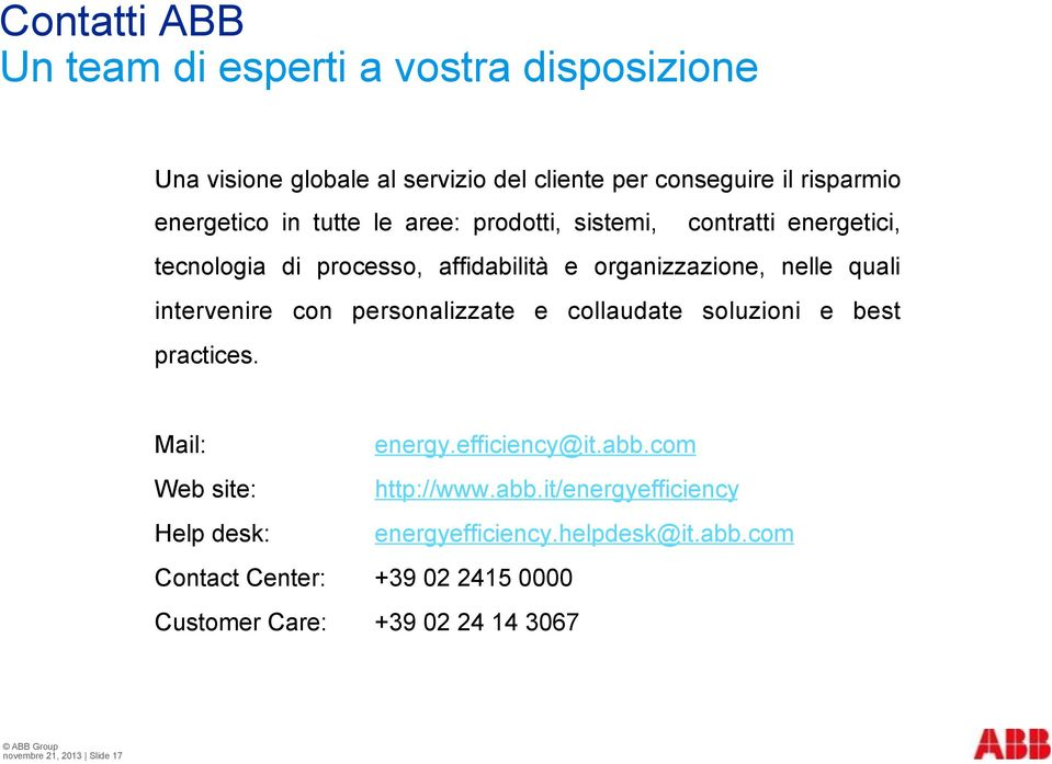 con personalizzate e collaudate soluzioni e best practices. Mail: energy.efficiency@it.abb.com Web site: http://www.abb.it/energyefficiency Help desk: energyefficiency.