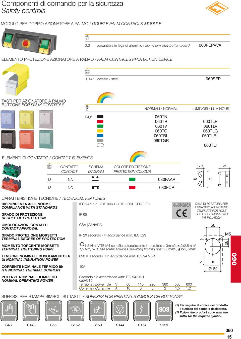 CONTACT ELEMENTS CONTATTO SCHEMA COLORE PROTEZIONE CONTACT DIAGRAM PROTECTION COLOUR, 8 NA 00FAAP 8 NC 00FCP CARATTERISTICHE TECNICHE / TECHNICAL FEATURES RISPONDENZA ALLE NORME IEC -- VDE 00 - UTE -