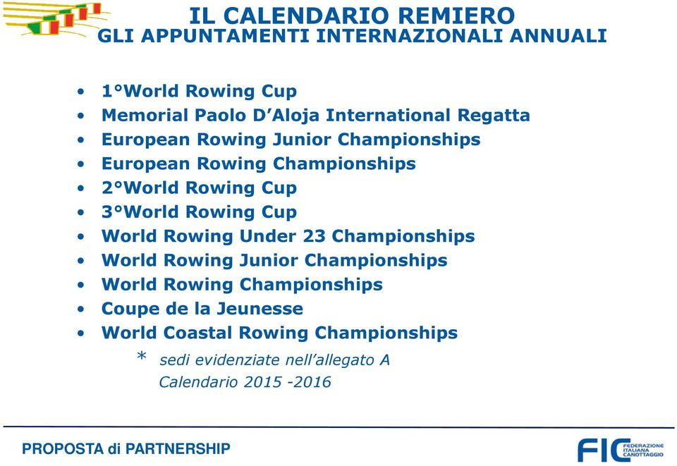 World Rowing Cup World Rowing Under 23 Championships World Rowing Junior Championships World Rowing