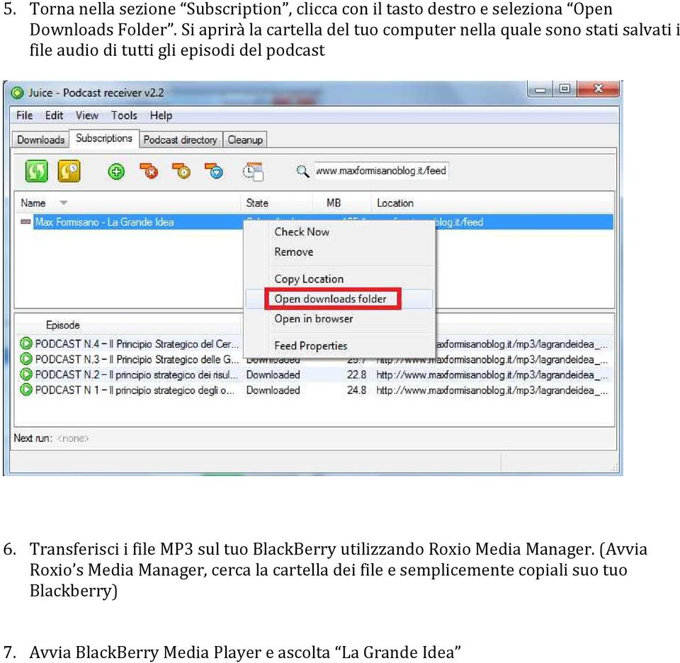 podcast 6. Transferisci i file MP3 sul tuo BlackBerry utilizzando Roxio Media Manager.