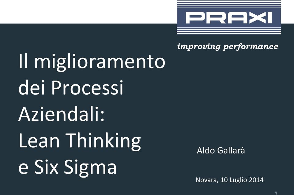 Thinking e Six Sigma Aldo