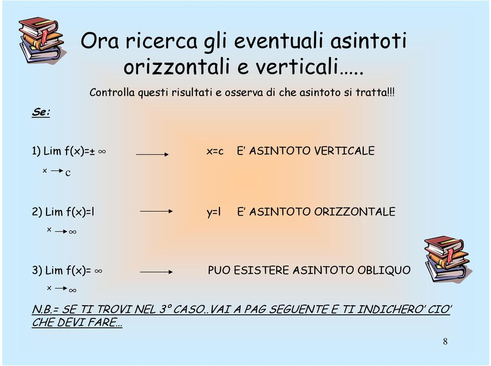 !! 1) Lim f()=± =c E ASINTOTO VERTICALE c 2) Lim f()=l y=l E ASINTOTO ORIZZONTALE