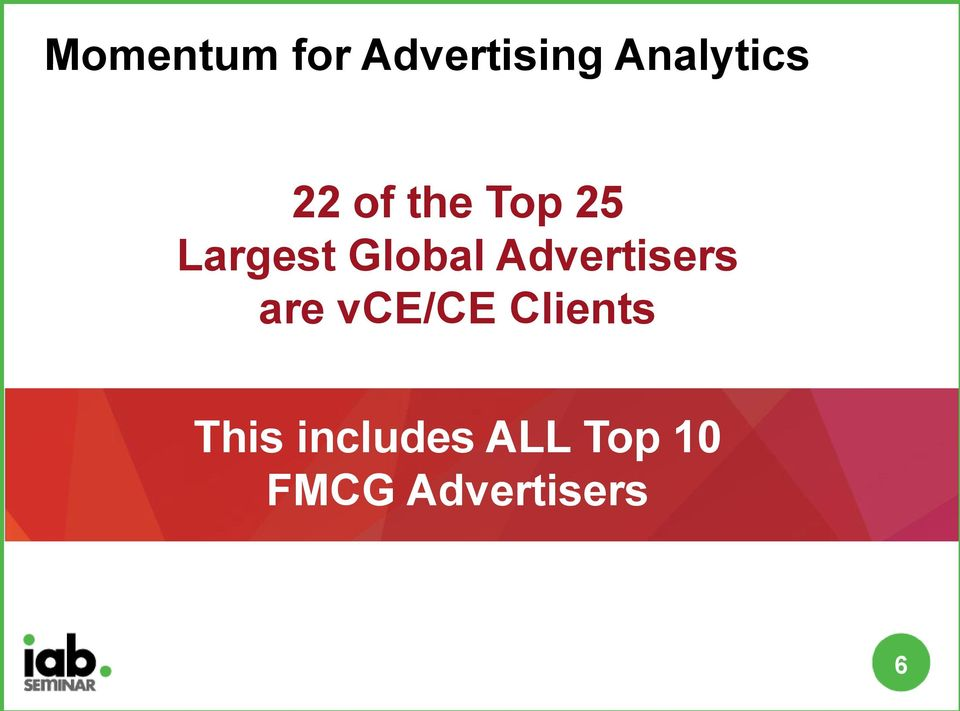 Advertisers are vce/ce Clients This