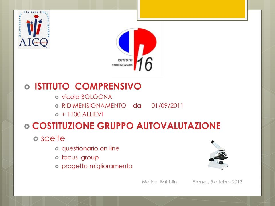 AUTOVALUTAZIONE scelte questionario on line focus group